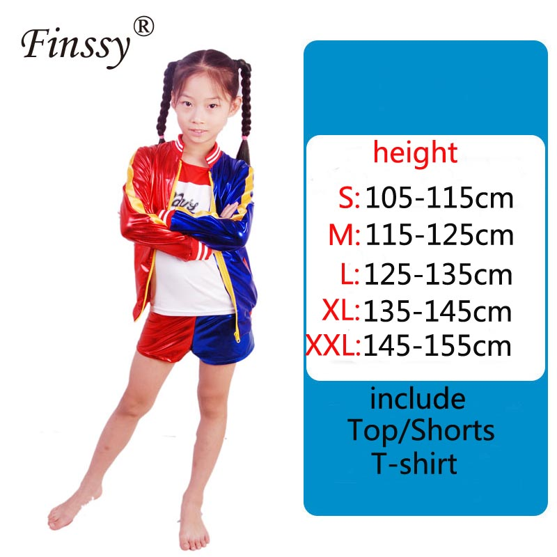 Girls Cosplay Suicide Squad Harley Quinn Halloween Costume Stage Performance Suit Jazz Dance Suit Birthday Present for Kids