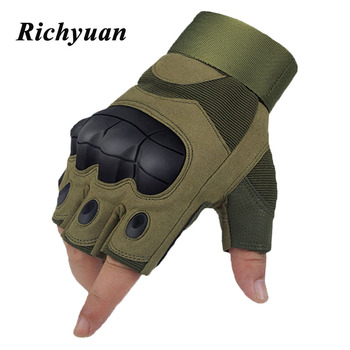 Tactical Fingerless Gloves Military Armed Combat Paintball Airsoft Shooting Workout Anti-Skid Carbon Knuckle Half Finger Gloves фото