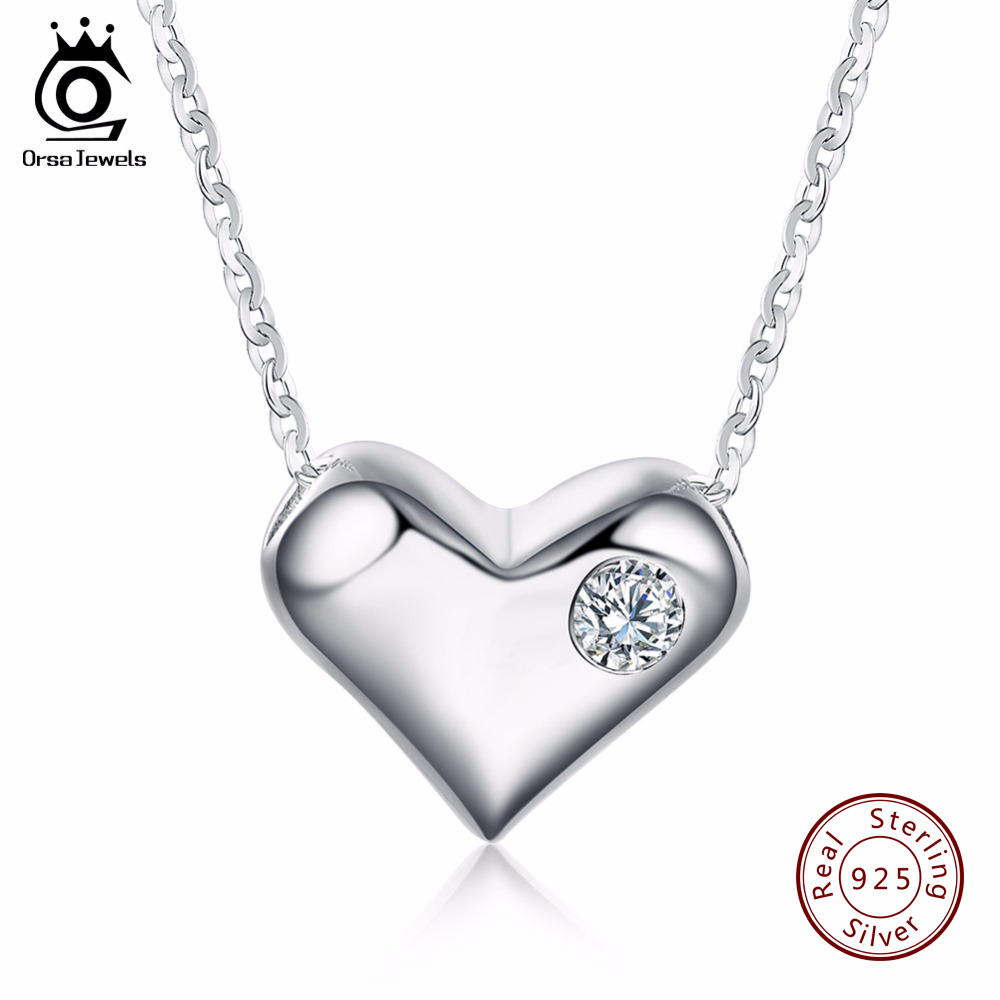 ORSA JEWELS Pure <font><b>Smooth</b></font> 925 Silver <font><b>Love</b></font> Heart Pendant with Charm Zircon Genuine Sterling Silver Necklace for Women SN33