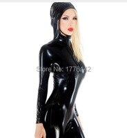 Black Sexy Latex Catsuit With Hoodies Front Zip Crotch Zip Rubber Body Suit Catsuit Bodysuit Zentai Overall Cat Suit