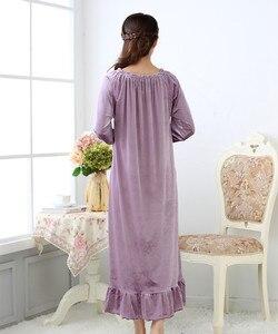 Image 5 - Fdfklak lunghe camicie da notte degli indumenti da notte delle donne del vestito di notte abito taglie primavera autunno nuovo velluto delle donne degli indumenti da notte di notte di usura Q1468