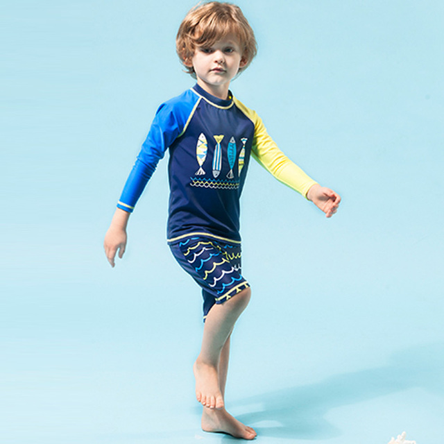 548a567a8eed0 Character boys swimwear long sleeve short pants children's beach wear little  kids bathing suit for young boy swimsuit two pieces