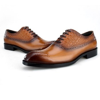 NEW Black / Brown Oxfords Mens Business Dress Shoes Genuine Leather Wedding Groom Shoes Male Prom Shoes