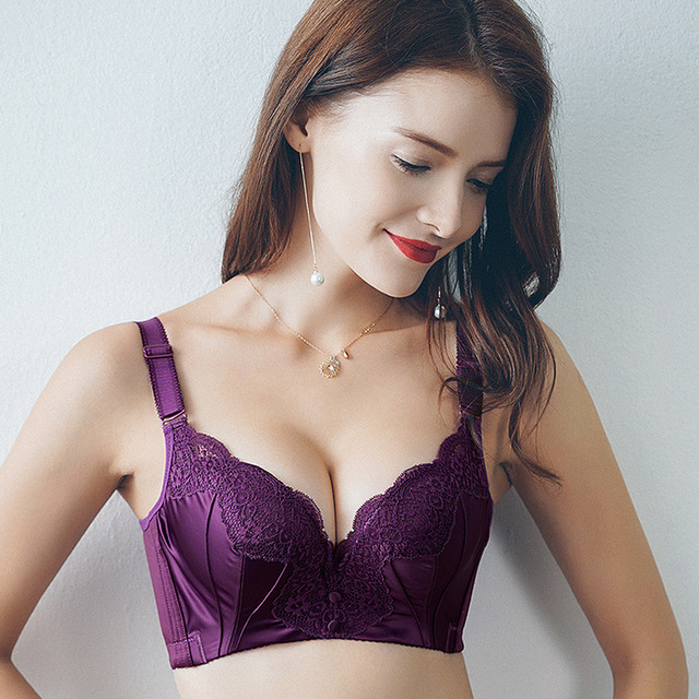 3b2a929923 Brassiere Women Bra Sexy Underwire Padded Up Embroidery Lace Bra 3 4 Cup Push  Up