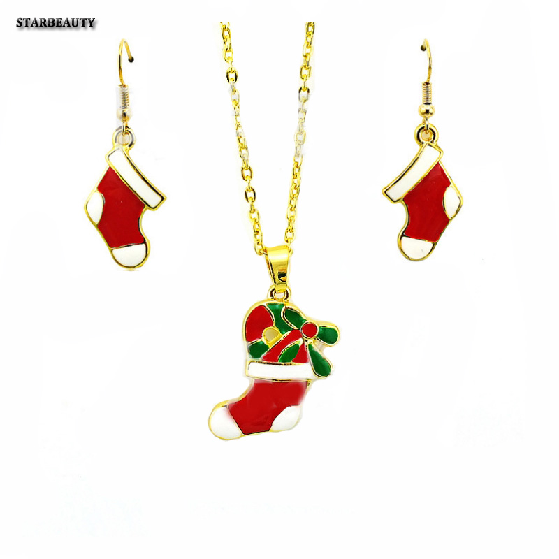 Red Christmas Socks Earrings and Necklace Jewelry, Merry Christmas Tree Decoration Neckl ...