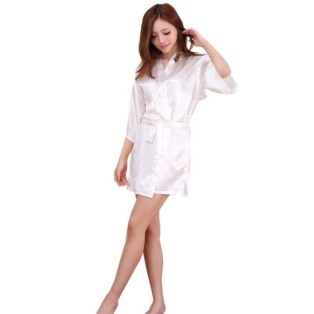 Plus Size S-XXXL Mulheres Roupão Quimono de Cetim Rayon Mini Robe Sexy Lingerie Clássico Pijamas com Cinto ZS00001