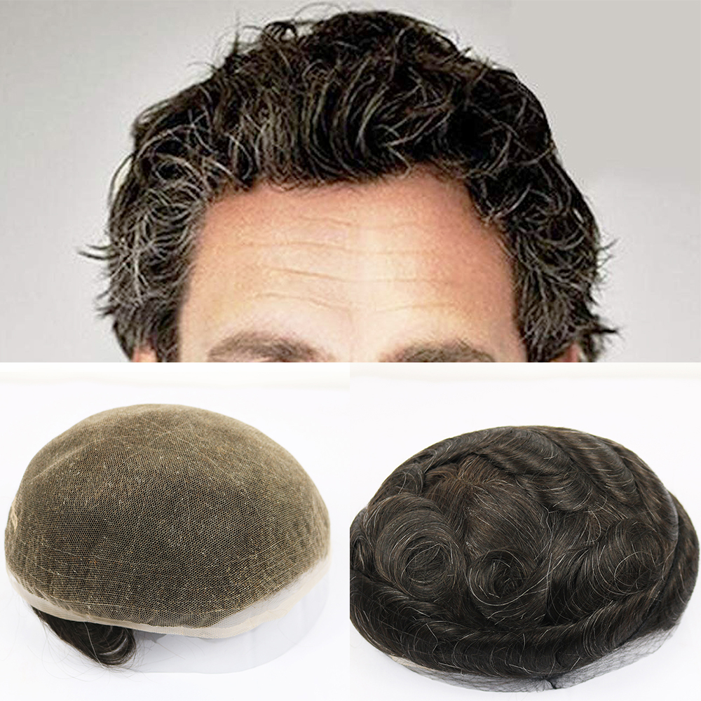 Simbeauty European Virgin Human Hair Toupee For Men With 10x8 Soft French Lace Cap And Clearly Pu Around Slight Wave Mens Hair Factories And Mines Toupees
