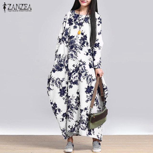 fun comfortable long sleeve print dress 1