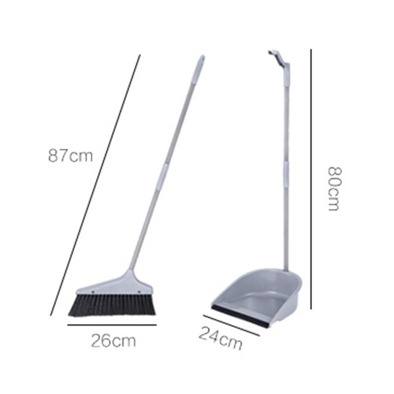 US $16 01 29% OFF JiangChaoBo Household Sweeper Dustpan Set Stainless Steel  Sweeping Cleaning Tool Sweeping Hair Removing Soft Gray Broom-in Brooms &