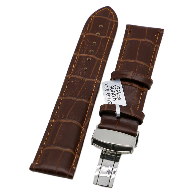 18/20/22mm Brown Genuine Leather Wrist Watch Band Strap with Butterfly Buckle for Women Men Free Shipping PD0133 laopijiang men and women leather leather strap watch for car master 18 20 22mm