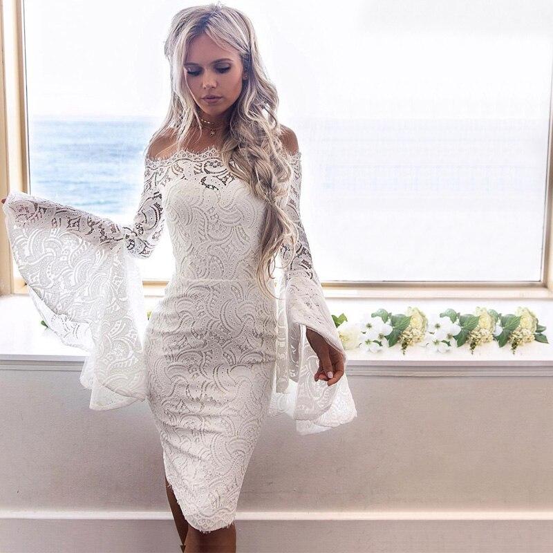 Новое поступление элегантные Кружево платье 2018 Белый Красный Сексуальная Слэш Средства ухода за кожей шеи с длинным рукавом Bodycon Ночной вне... ...