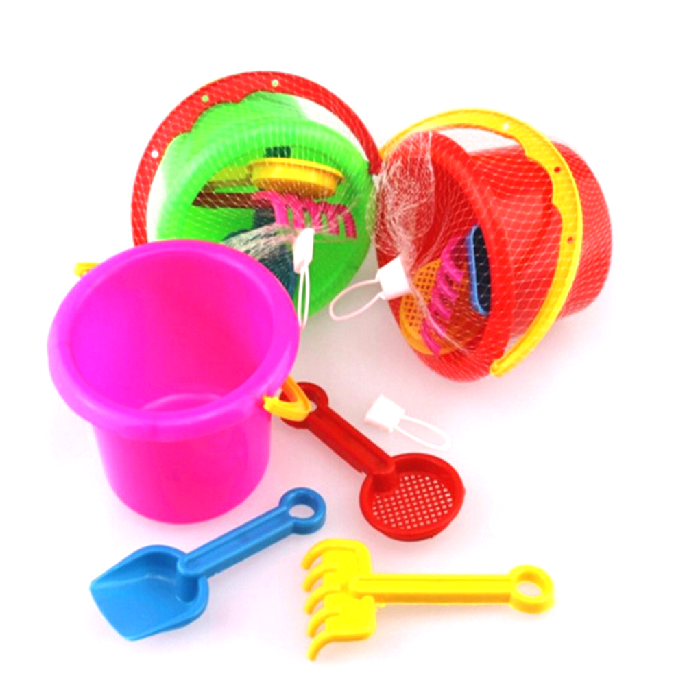 Hot 4pcs/set Sand Sandbeach Kids Beach Toys Castle Bucket Spade Shovel Rake Water Tools High-grade Beach Barrels Beach Toys #1