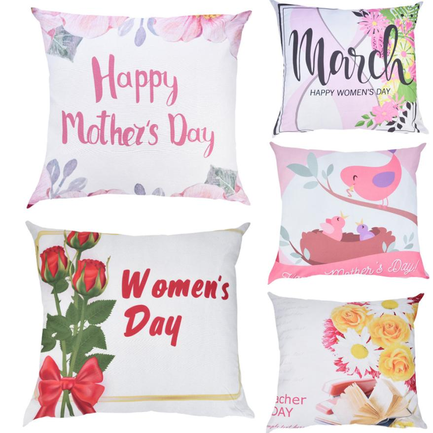 Pillowcases Happy Mother's Day Print Pillow Case Cotton