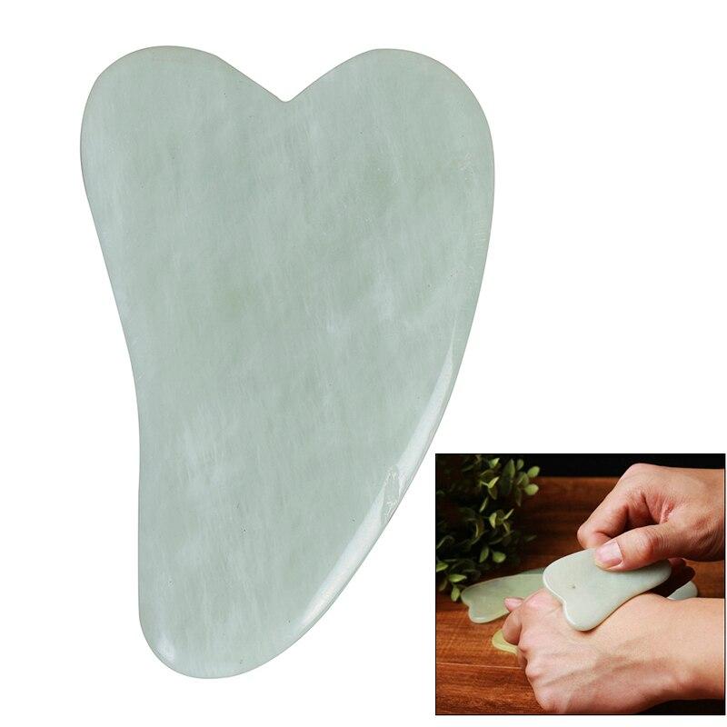 Pierre de Jade naturelle Gua Sha planche de raclage outil de Massage de soins du corps Spa racloir d'acupuncture pour le dos visage bras jambe