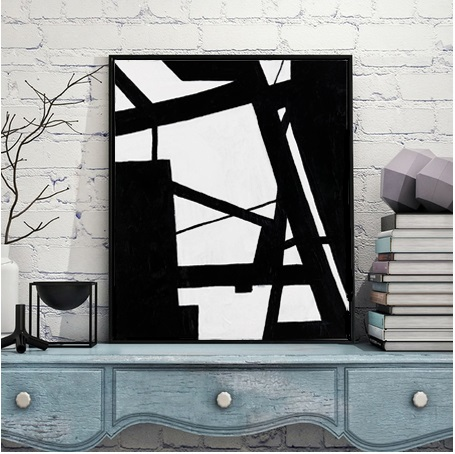 Modern Abstract Painting Black and White Painting Modern Art Black White Line Painting Wall Art Canvas Prints Home Decor
