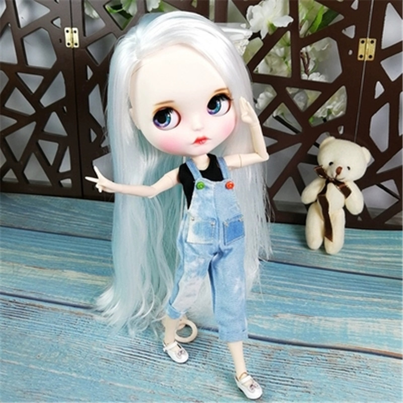 30cm 12 BJD Doll With Silver Hair Wig And Clothes Blyth Body Joint Girl Doll For