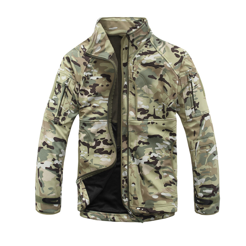 Men's Army Camouflage Military Waterproof Tactical Jacket Hunt Sharkskin Softshell Standcollar US Army Breathable Coat