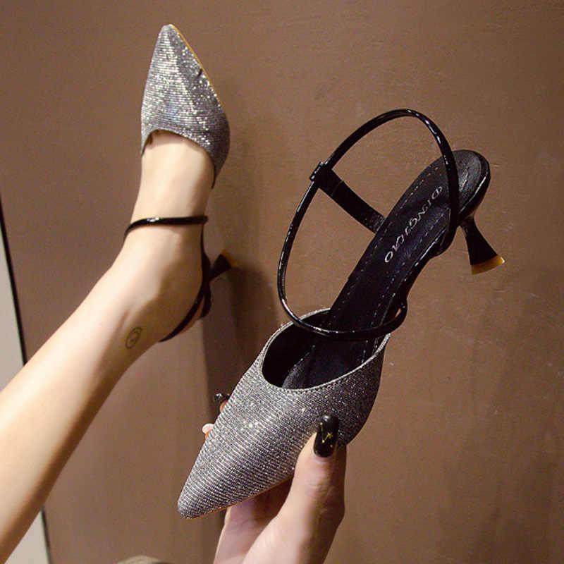 Vrouwen sandalen lente 2019 crystal bovenste zomer hoge hakken dragen rubber onderkant vrouwen partij schoenen hoge hak bruiloft schoenen