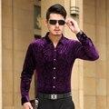 Рубашки 2016 ISMEN мужская рубашка с длинным рукавом хлопок мужской бизнес свободного покроя печатных мода формальный тонкий Masculina Camisa