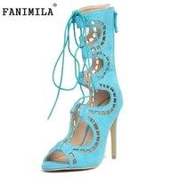 Ladies High Heels Shoes Women Pumps Cross Strap Gladiator Peep Toe Thin Heels Women Shoes Fretwork Catwalk Footwear Size 34-47