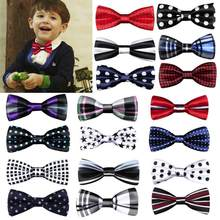 New School Boys Kids Children Bow Wedding Plaid Dot Tie Necktie Satin Bowtie Necktie For Wedding Party Adjustable Bow tie knot(China)