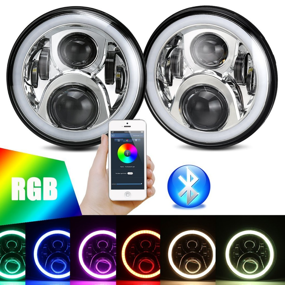 A pair 7LED RGB Chrome Headlight Kit Flashing Angel eye Bluetooth Phone APP Controlled for Jeep Wrangler LJ CJ JK image