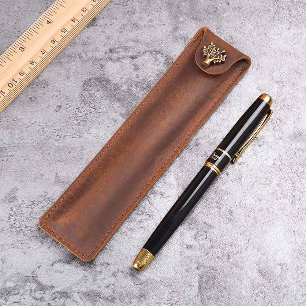 Handnote Genuine Leather Pen Pouch Holder Single Pencil Bag Pen Case With Snap Button For Rollerball Fountain Ballpoint Pen