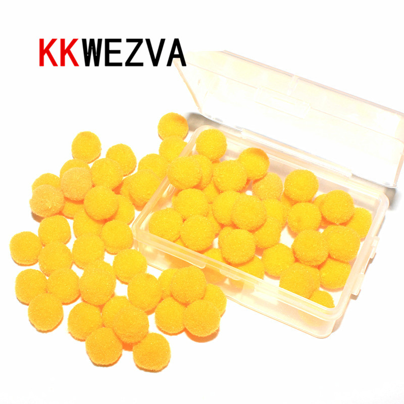 KKWEZVA 1cm / 100pcs Μύγες μύγες μίμησης αυγά ψαριών κίτρινο πέστροφα δολώματα πλωτές βελούδινες μπάλες Αυγά Ψάρεμα ψαριά