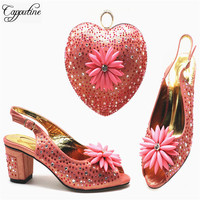 Capputine Latest Design 2019 Italian Peach Shoes And Matching Bag Set Fashion Party African Shoes With Bag Set On Stock 5Colors
