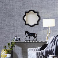 HaokHome Faux Grasscloth Peel Stick Wallpape Solid color Grey Linen Self Adhesive Contact Paper living room Bedroom home decor
