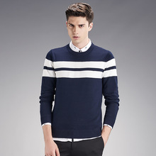 New Autumn Brand clothing Men Sweaters Pullovers Knitting Warm Winter stripe Casual Man Knitwear male Sweaters