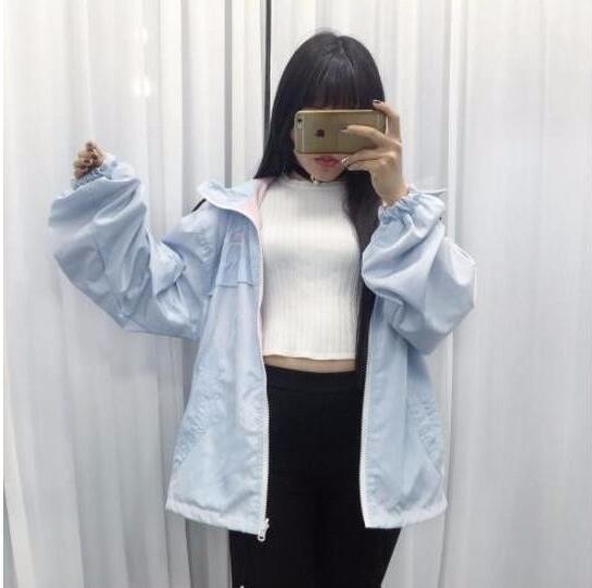 Японский Harajuku хит цвет вышитые свободные куртки носить на обе стороны