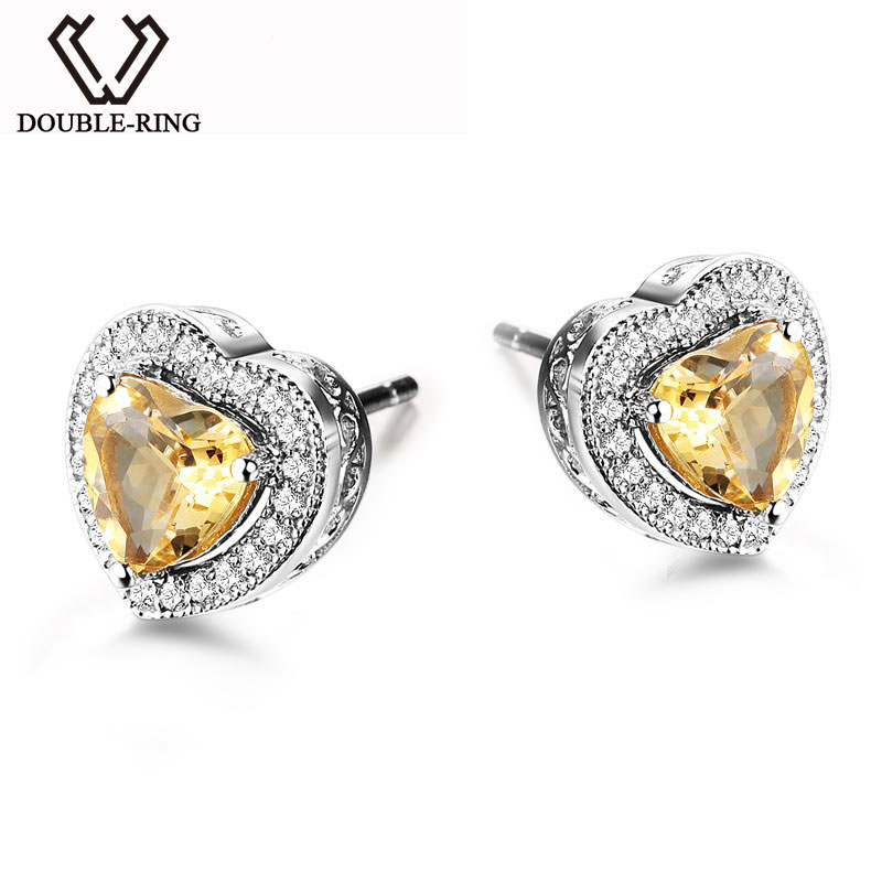 цена на DOUBLE-R Natural Citrine Gemstone Heart Earrings Silver 925 Jewelry Stud Earrings For Women/Girl CASE00766B