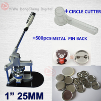 Free Shipping 1 25MM Badge Maker Button Machine 500 Sets Metal Pin Back Circle Cutter 25MM