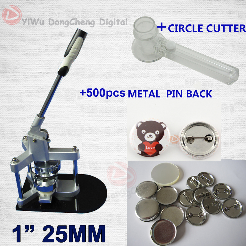 Free Shipping 125MM Badge Maker Button Machine+500 Sets Metal Pin back+Circle Cutter / 25MM Sales package free shipping new pro 1 1 4 32mm badge button maker machine adjustable circle cutter 500 sets pinback button supplies