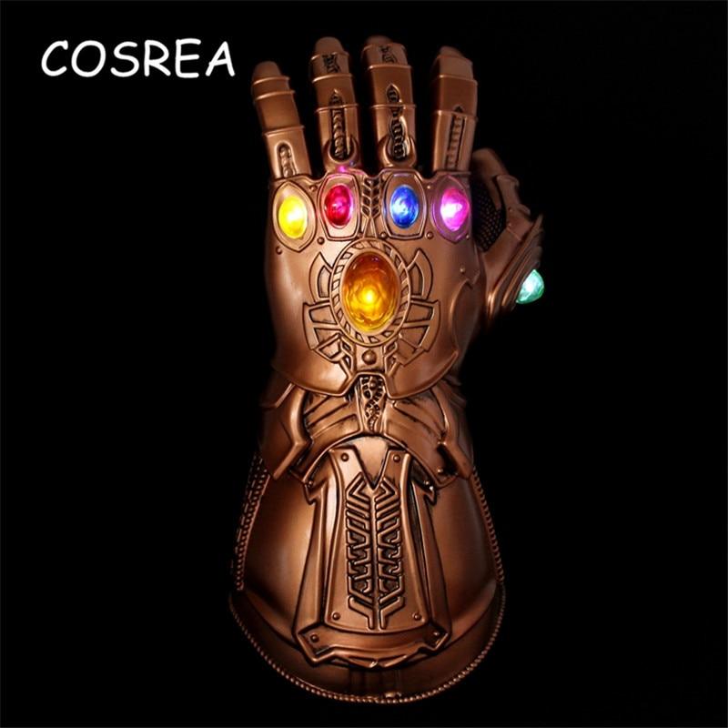 LED Light Thanos Infinity Gauntlet Avengers Cosplay Infinity War Costume Thanos Glove Infinity Stone PVC Deluxe Halloween Men