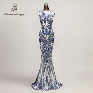Image 5 - Poems Songs New Hot sale Mermaid Evening Dress prom gowns Party dress vestido de festa Sexy Backless Luxury Sequin robe longue