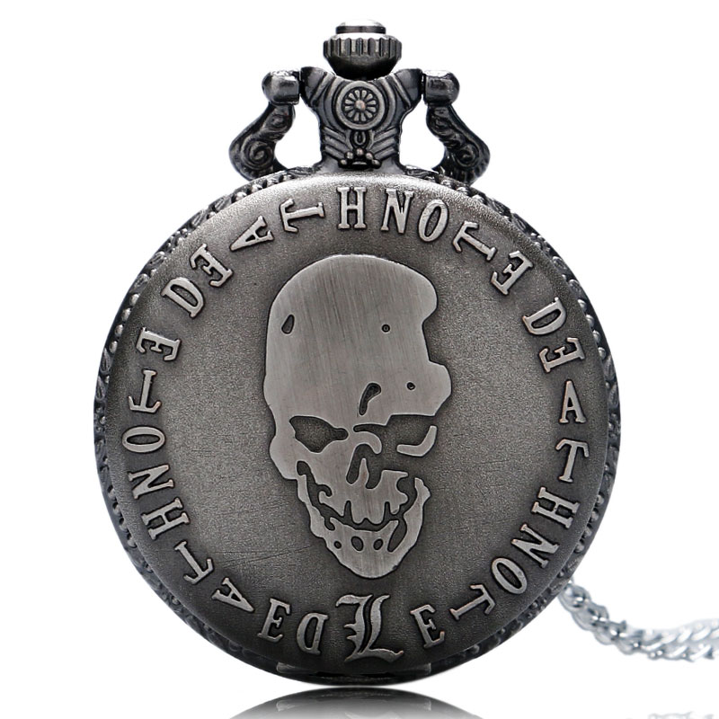 Retro Death Note Theme Pocket Watches with Necklace Chain Cool Skull Watch Cosplay Gifts for Boys Children Kids Birthday Gift