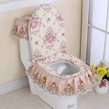 3 Pcs/Set Toilet Seat Cover Set Lace Floral Print Closestool Protector Cushion Pad Bathroom Decor E2S