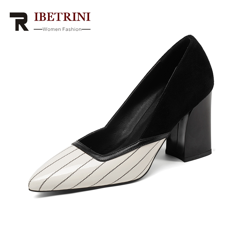 RIBETRINI 2018 Genuine Leather Pointed Toe Slip On Women Shoes Woman Square High Heels Red Office Lady Pumps Szie 34-39 2017 shoes women med heels tassel slip on women pumps solid round toe high quality loafers preppy style lady casual shoes 17