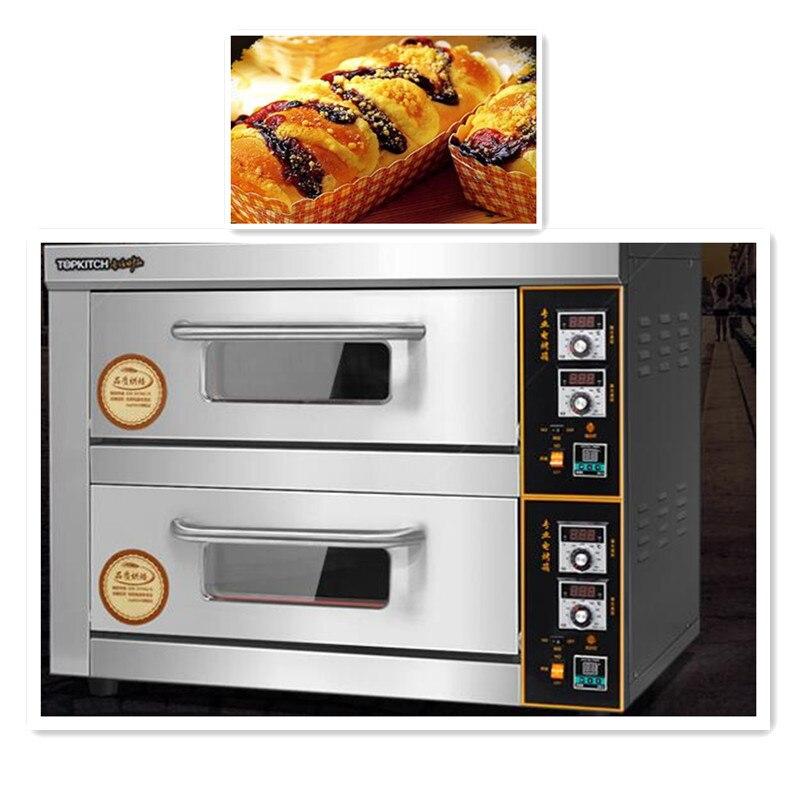 220 V/6KW Commercial électrique four à Pizza Double couche professionnel électrique cuisson four gâteau/pain/Pizza avec minuterie