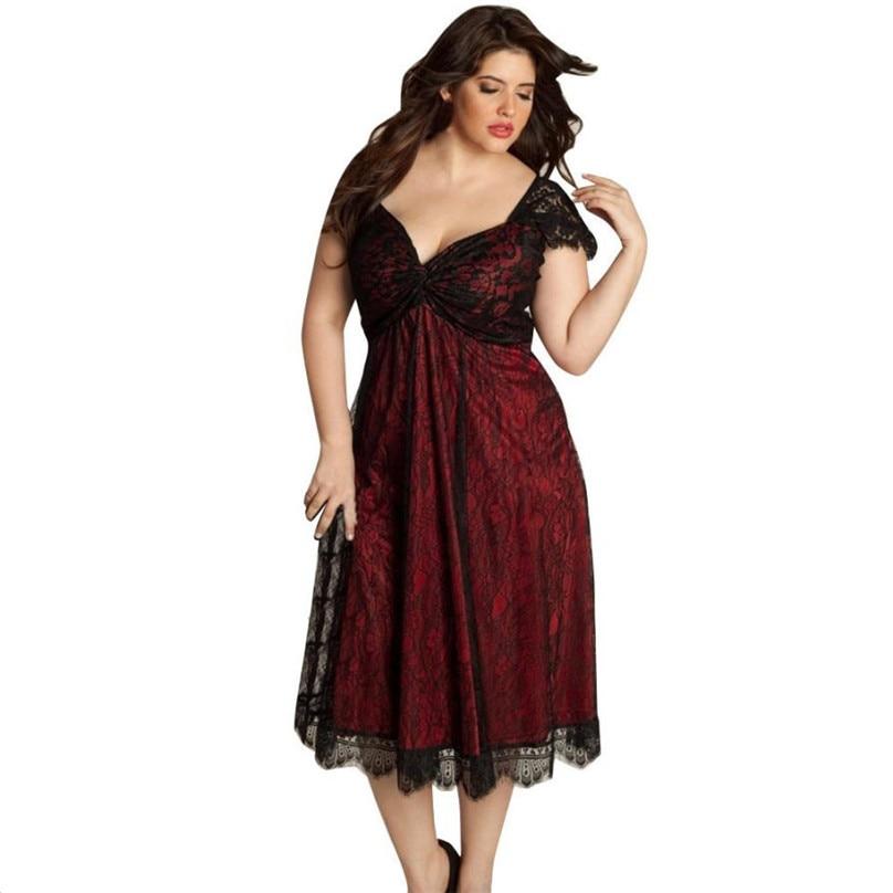Women Elegant Floral Lace Mesh Party Dress Vintage Style Swing Pinup Short Sleeve Lined A-line Deep V-Neck Dress L-5XL #TH