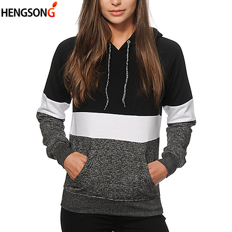 Autumn Color Block Stripe Hoody Harajuku Women Hoodies Long Sleeve Loose Pullovers Tracksuits For Women Casual Sweatshirt Pocket