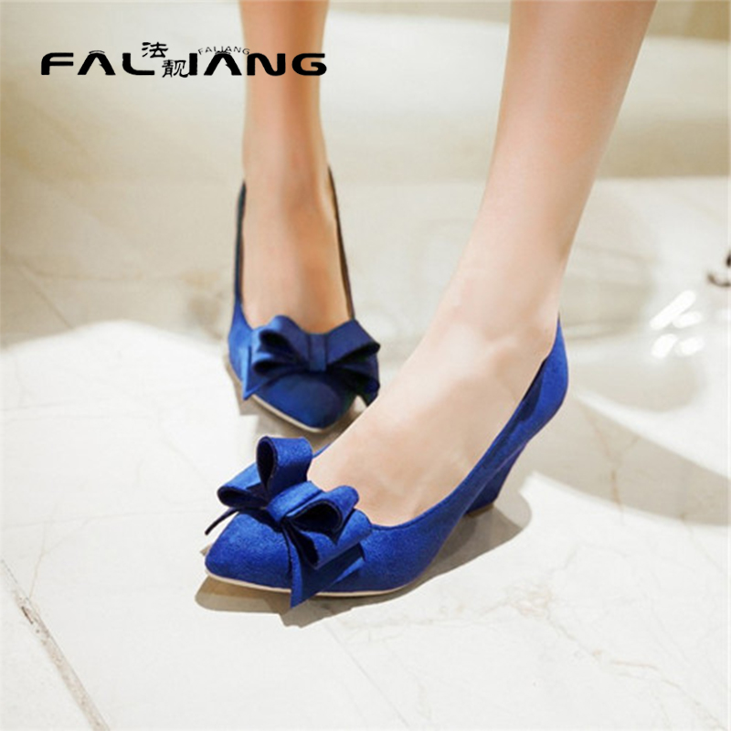 ФОТО Womens Pointed Toe Slip On Retro Faux Suede Wedge High Heel Lolita Bowknot Pumps Dating Butterfly-knot Shoes Plus Size