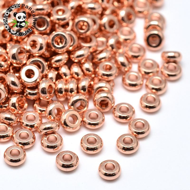 500pcs 4x2mm Environmental Brass Flat Round Loose Bead Spacers, Lead Free & Cadmium Free & Nickel Free, Rose Gold, Hole: 1mm