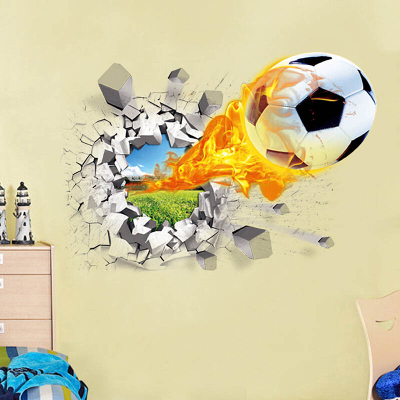 Wholesale 3D Stickers Firing Football Basketball Car Through The Wall Simulation Home Decor Murals For Children Room Or School ...