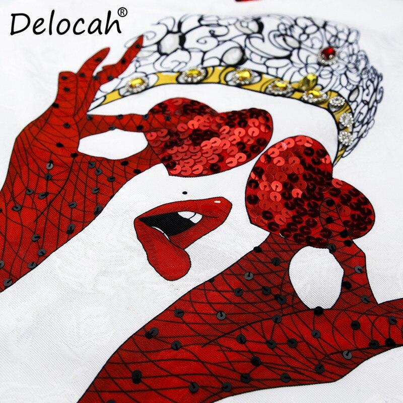 Manches Femmes Designer Delocah D'été Robe Réservoir Robes Perles Mode Courte Sequin Casual Cristal Imprimé Sans Blanc x6aaqCX5w