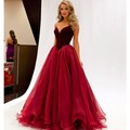 Red wine Elegant Prom Dresses 2017 With Tulle Floor Length Plus Size Sweetheart Off The Shoulder velvet  Evening Gown Suzhou