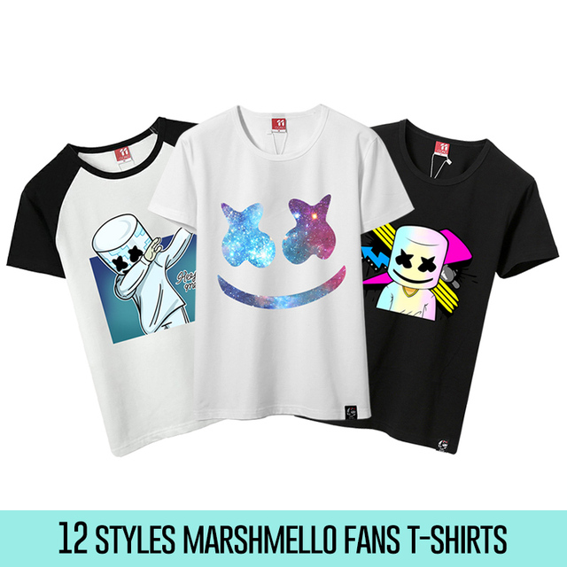d343b9e6 12 Styles Unisex Marshmello T Shirts Men Marshmello DJ T-Shirt Female Short  Sleeve T