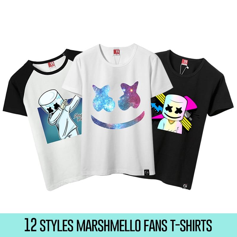 12 Styles Unisex Marshmello T Shirts Men Marshmello DJ T-Shirt Female Short Sleeve T-shirt Male Fans Costume Tees For Cosplay